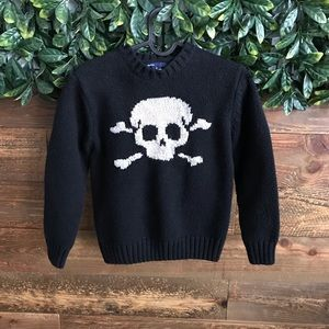 GAP KIDS Skeleton Wool Blend Black Sweater -M (8)
